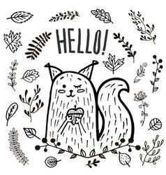 Cute squirrel hand drawn vector