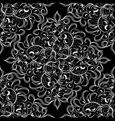 damask black and white seamless pattern vector image