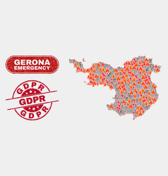 Disaster and emergency collage gerona province vector