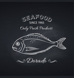 Dorado fish retro hand drawn icon vector