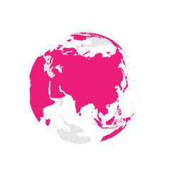 Earth globe with pink world map focused on asia vector