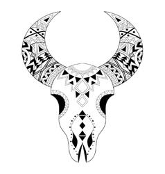 Entangle animal skull freehand boho tribal vector