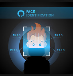 Face identification system scan man access control vector