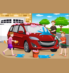 Father and his kids washing car vector