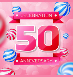 fifty years anniversary celebration design vector image