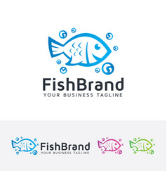 fish brand logo design vector image