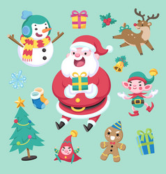 flat cute style christmas character and element vector image