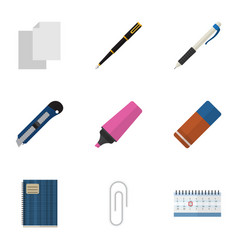 Flat icon stationery set of copybook fastener vector