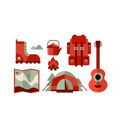 flat set of icons related to camping theme vector image