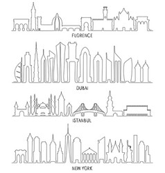 florence dubai new york and istanbul vector image