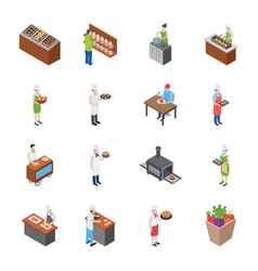 Food court food stall and furniture set vector