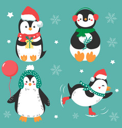 four funny holiday penguins in winter cloth vector image
