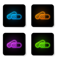 glowing neon pills for potency aphrodisiac icon vector image