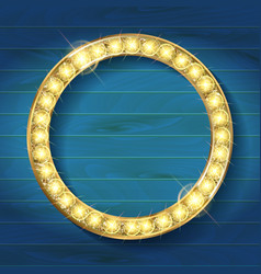 gold round frame on wooden background vector image