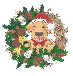 Golden Retriever and christmas wreath vector image