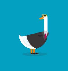 Goose wearing business suit vector