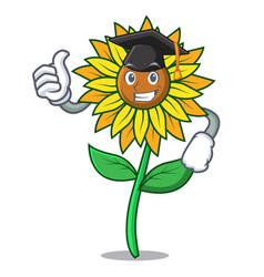 Graduation sunflower character cartoon style vector