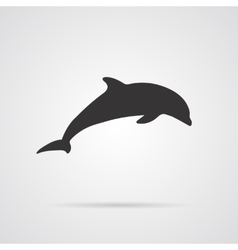 Gray Silhouette of Dolphin vector image