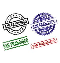 grunge textured san francisco seal stamps vector image