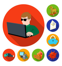 hacker and hacking flat icons in set collection vector image
