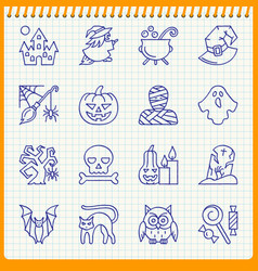 halloween line icon set hand drawn pen effect vector image