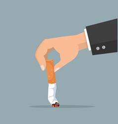 hand extinguishing a cigarette butt vector image