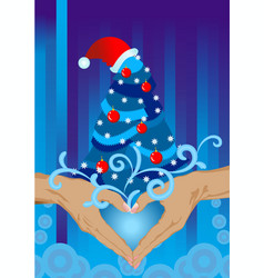 hands christmas card vector image