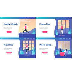 healthy lifestyle lp templates vector image
