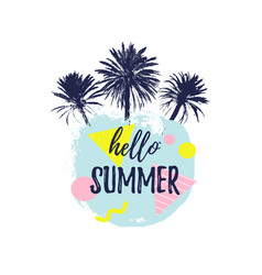 Hello summer lettering hand drawn palm trees with vector