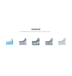Increase icon in different style two colored and vector
