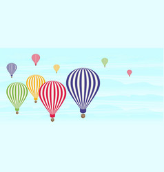 Isometric air balloons in the sky flat vector