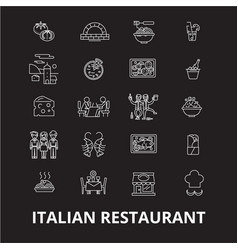italian restaurant editable line icons set vector image
