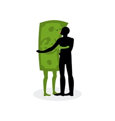 Kiss money Man embraces dollar Hot kiss on date vector image
