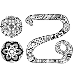 letter Z decorated in the style of mehndi vector image vector image
