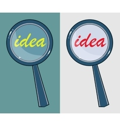 Magnifying glass with word idea vector image