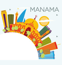 Manama skyline with color buildings blue sky and vector