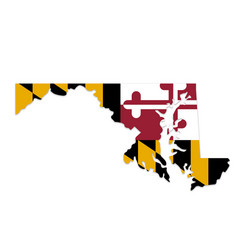 maryland md state map shape with flag vector image