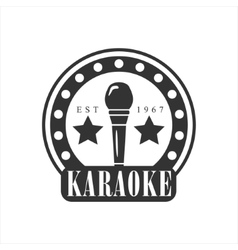 Microphone In Round Frame Karaoke Premium Quality vector