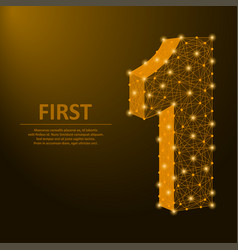 number one made points and lines first sign vector image