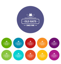 Old hat icons set color vector