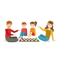 Parents And Kids Playing Chess Happy Family vector