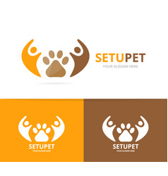 paw and people logo combination pet and vector image