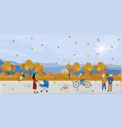 people in park autumn flat style fall vector image