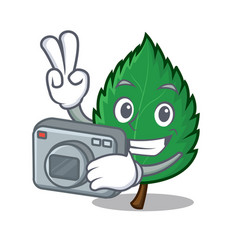 Photographer mint leaves mascot cartoon vector