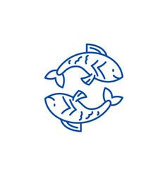 pisces zodiac sign line icon concept pisces vector image