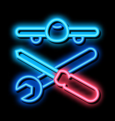 Plane instruments neon glow icon vector