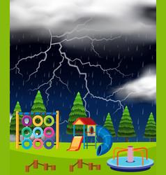 Playground scene on thunderstorm night vector