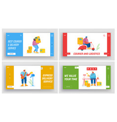post office employees website landing page set vector image