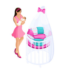 quality isometry 3d girl with a baby vector image
