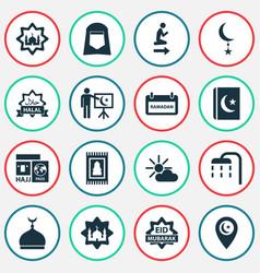 Ramadan icons set collection of arabic vector